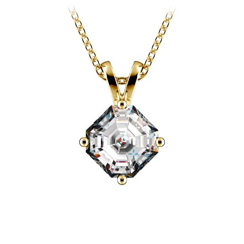 Asscher Diamond Solitaire Pendant in Yellow Gold (1 ctw)  | Image 01
