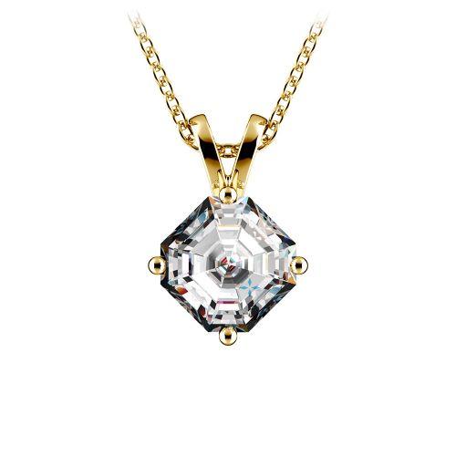 Asscher Diamond Solitaire Pendant in Yellow Gold (1 ctw)  | Image 01