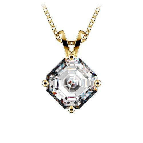 Asscher Diamond Solitaire Pendant in Yellow Gold (2 ctw)  | Image 01