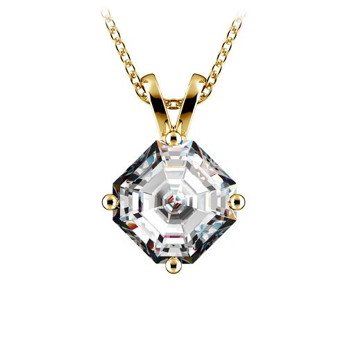 Asscher Diamond Solitaire Pendant in Yellow Gold (2 ctw)  | Image 01
