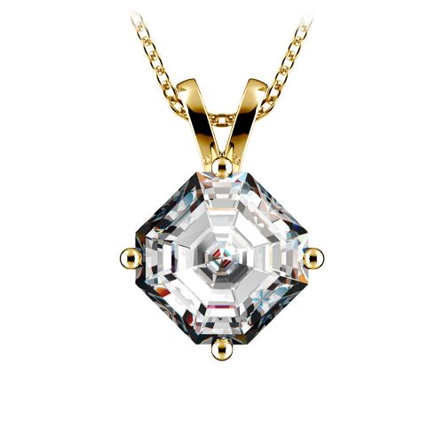 Asscher Diamond Solitaire Pendant in Yellow Gold (3 ctw)  | Image 01