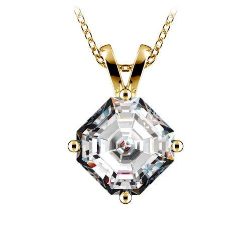 Asscher Diamond Solitaire Pendant in Yellow Gold (3 ctw)  | Image 01