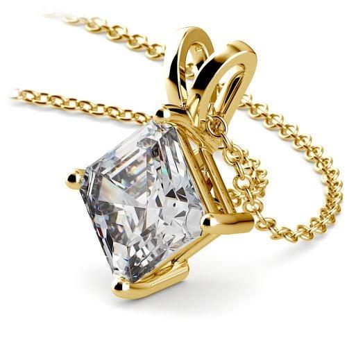 Asscher Diamond Solitaire Pendant in Yellow Gold (3 ctw)  | Image 03