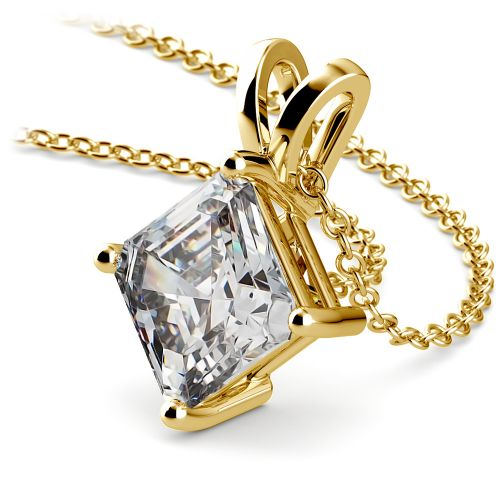 Asscher Diamond Solitaire Pendant in Yellow Gold (3 ctw)  | Image 03