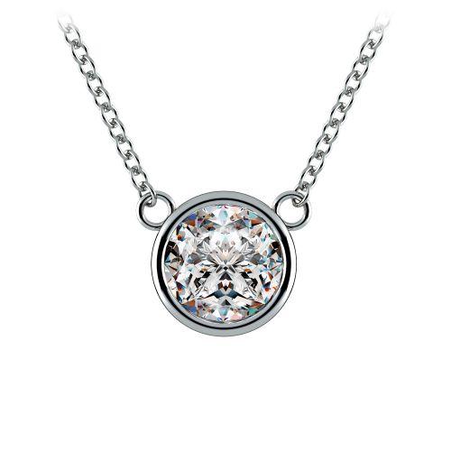 Bezel Diamond Solitaire Pendant in Platinum (1 1/2 ctw) | Image 01
