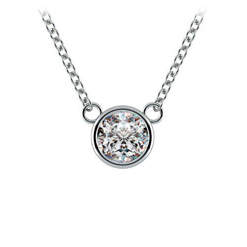 Bezel Diamond Solitaire Pendant in Platinum (1/2 ctw) | Image 01