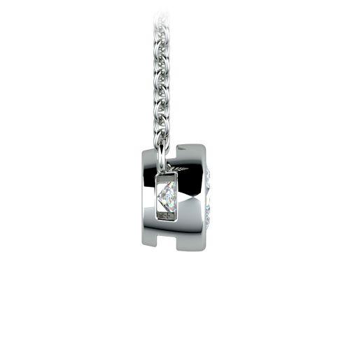 Bezel Diamond Solitaire Pendant in Platinum (1/2 ctw) | Image 02