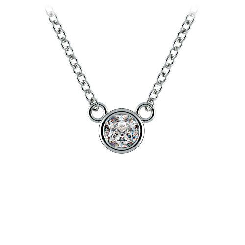 Bezel Diamond Solitaire Pendant in Platinum (1/5 ctw) | Image 01