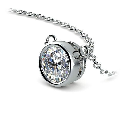Bezel Diamond Solitaire Pendant in Platinum (1 ctw)   Image 03