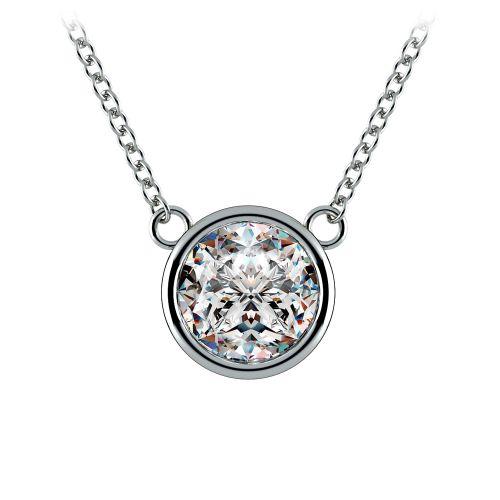 Bezel Diamond Solitaire Pendant in Platinum (2 ctw) | Image 01