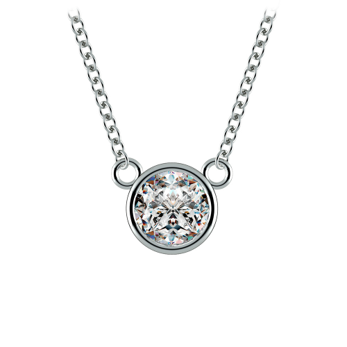 Bezel Diamond Solitaire Pendant in Platinum (3/4 ctw) | Image 01