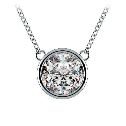 Bezel Diamond Solitaire Pendant in Platinum (3 ctw) | Image 01