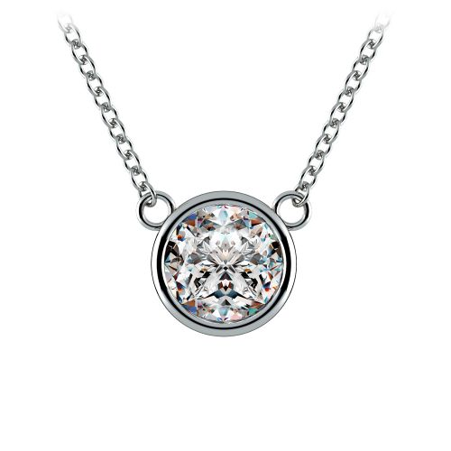 Bezel Diamond Solitaire Pendant in White Gold (1 1/2 ctw) | Image 01