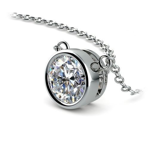 Bezel Diamond Solitaire Pendant in White Gold (1 1/2 ctw) | Image 03