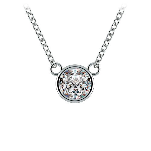 Bezel Diamond Solitaire Pendant in White Gold (1/2 ctw) | Image 01