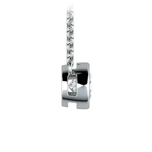 Bezel Diamond Solitaire Pendant in White Gold (1/2 ctw) | Image 02