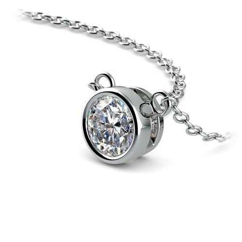Bezel Diamond Solitaire Pendant in White Gold (1/2 ctw) | Image 03