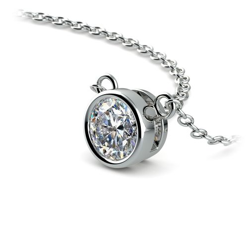 Bezel Diamond Solitaire Pendant in White Gold (1/2 ctw) | Image 03