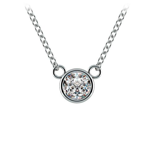 Bezel Diamond Solitaire Pendant in White Gold (1/3 ctw) | Image 01