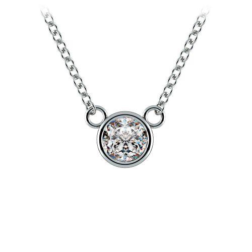 Bezel Diamond Solitaire Pendant in White Gold (1/3 ctw) | Image 01