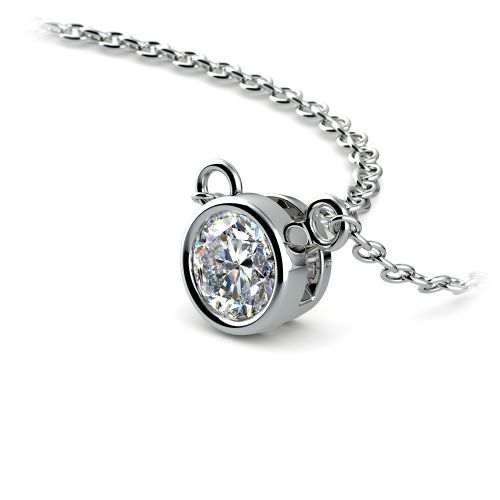 Bezel Diamond Solitaire Pendant in White Gold (1/3 ctw) | Image 03