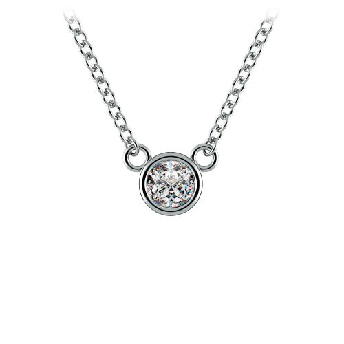 Bezel Diamond Solitaire Pendant in White Gold (1/5 ctw) | Image 01