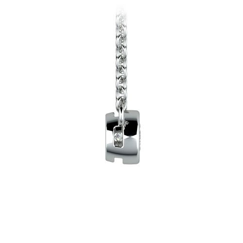 Bezel Diamond Solitaire Pendant in White Gold (1/5 ctw) | Image 02