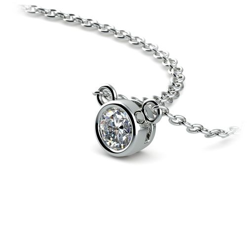 Bezel Diamond Solitaire Pendant in White Gold (1/5 ctw) | Image 03