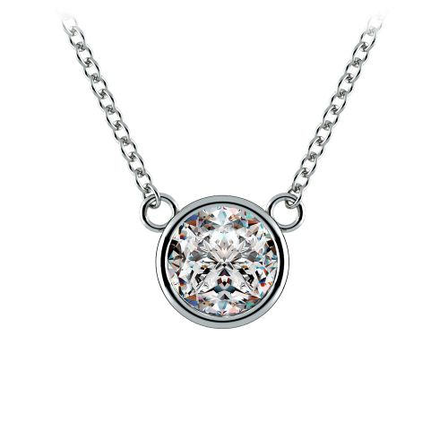 Bezel Diamond Solitaire Pendant in White Gold (1 ctw) | Image 01