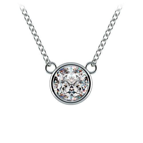 Bezel Diamond Solitaire Pendant in White Gold (1 ctw)   Image 01