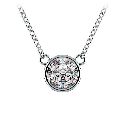 Bezel Diamond Solitaire Pendant in White Gold (1 ctw) | Image 01