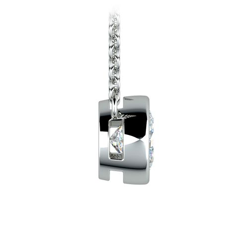 Bezel Diamond Solitaire Pendant in White Gold (1 ctw) | Image 02