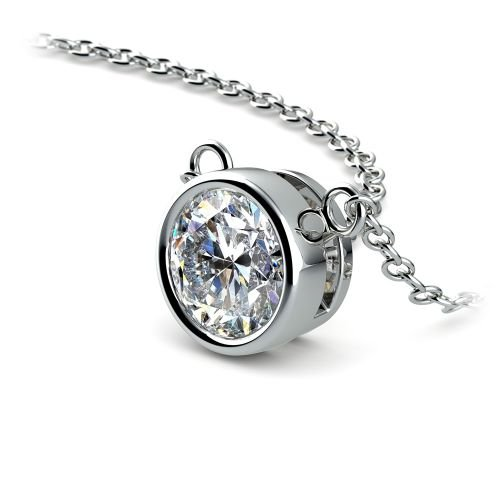 Bezel Diamond Solitaire Pendant in White Gold (1 ctw) | Image 03