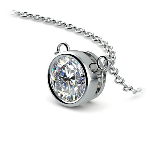Bezel Diamond Solitaire Pendant in White Gold (1 ctw)   Image 03