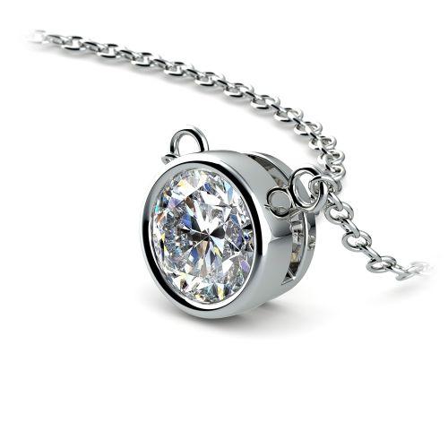 Bezel Diamond Solitaire Pendant in White Gold (1 ctw) | Image 03