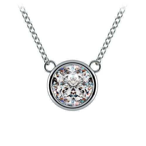 Bezel Diamond Solitaire Pendant in White Gold (2 ctw) | Image 01