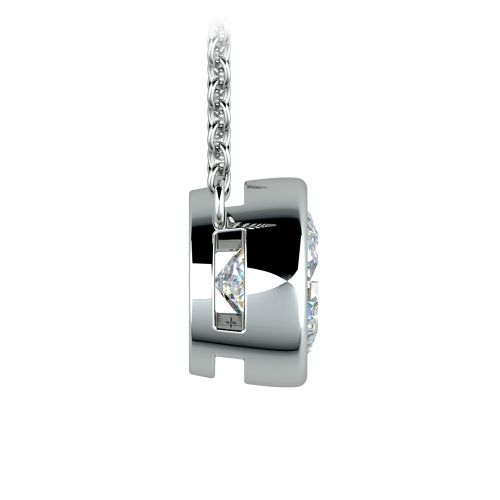 Bezel Diamond Solitaire Pendant in White Gold (2 ctw) | Image 02