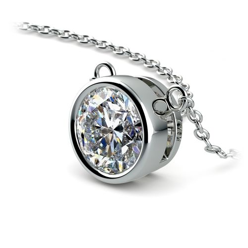 Bezel Diamond Solitaire Pendant in White Gold (2 ctw) | Image 03