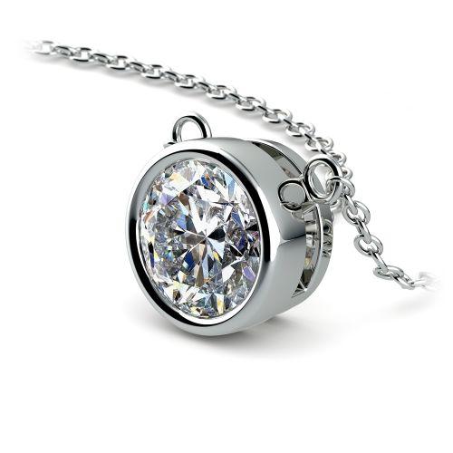 Bezel Diamond Solitaire Pendant in White Gold (2 ctw) | Image 03