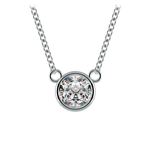 Bezel Diamond Solitaire Pendant in White Gold (3/4 ctw) | Image 01
