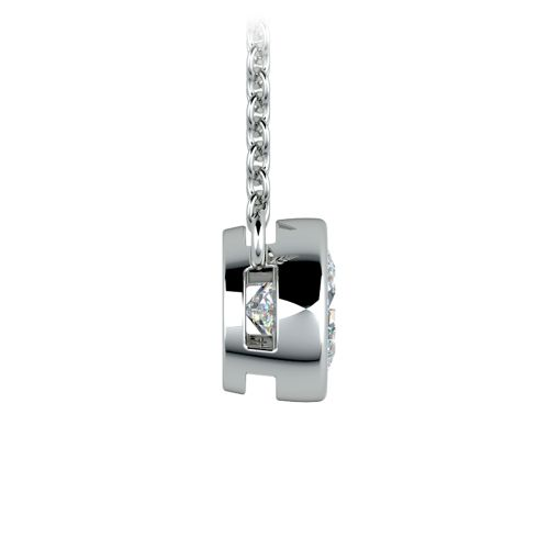 Bezel Diamond Solitaire Pendant in White Gold (3/4 ctw) | Image 02