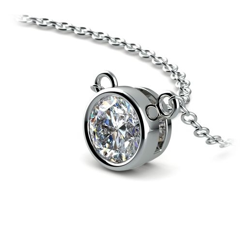 Bezel Diamond Solitaire Pendant in White Gold (3/4 ctw) | Image 03