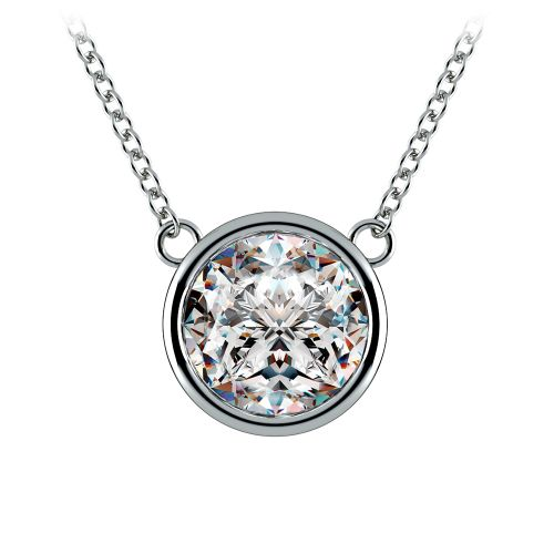 Bezel Diamond Solitaire Pendant in White Gold (3 ctw) | Image 01