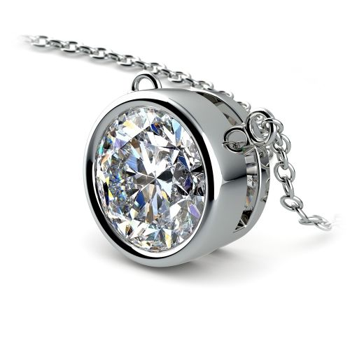 Bezel Diamond Solitaire Pendant in White Gold (3 ctw) | Image 03