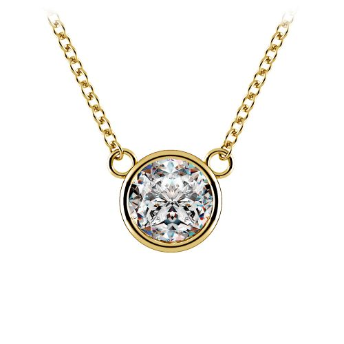 Bezel Diamond Solitaire Pendant in Yellow Gold (1 ctw) | Image 01
