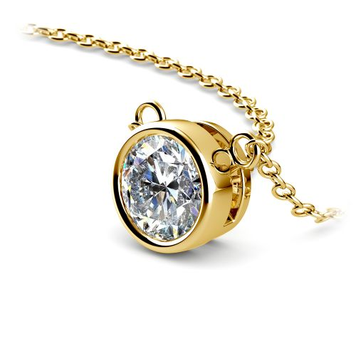 Bezel Diamond Solitaire Pendant in Yellow Gold (1 ctw) | Image 03