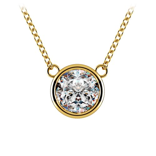 Bezel Diamond Solitaire Pendant in Yellow Gold (2 ctw) | Image 01