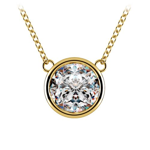 Bezel Diamond Solitaire Pendant in Yellow Gold (3 ctw) | Image 01