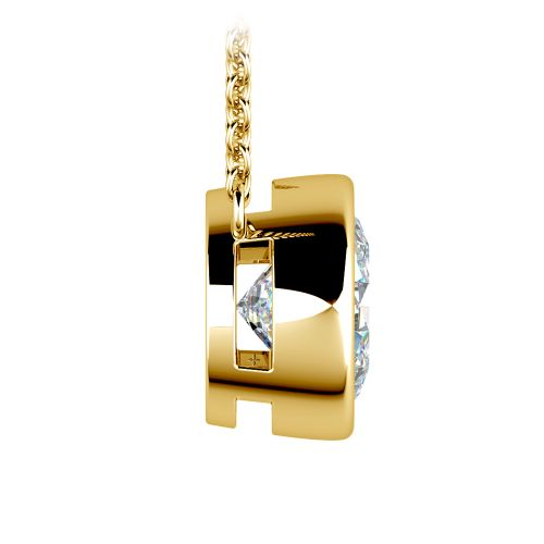 Bezel Diamond Solitaire Pendant in Yellow Gold (3 ctw) | Image 02