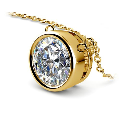 Bezel Diamond Solitaire Pendant in Yellow Gold (3 ctw) | Image 03